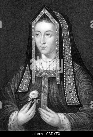 Elizabeth of York (1466-1503) on engraving from 1838. Queen consort of England as spouse of King Henry VII. - Stock Photo