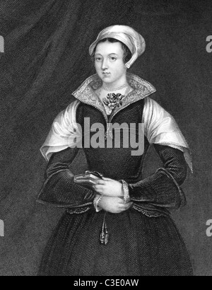 Lady Jane Grey (1536/1537-1554) on engraving from 1838. Also known as The Nine Days Queen. - Stock Photo