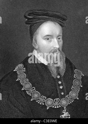 Thomas Stanley, 1st Earl of Derby (1435-1504) on engraving from 1838. Titular King of Mann, English nobleman. - Stock Photo