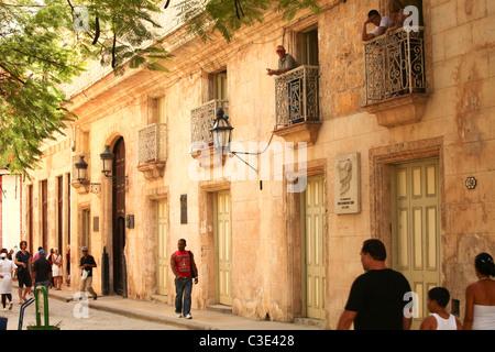 People on the street in Havana vieja in Cuba - Stock Photo