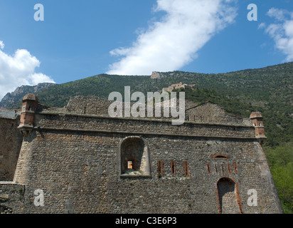 Vauban's fortification of the village Villefranche-de-Conflent: in Roussillon with Fort Liberia - Stock Photo