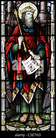 Victorian stained glass window depicting King Solomon, Brinton, Norfolk, England - Stock Photo