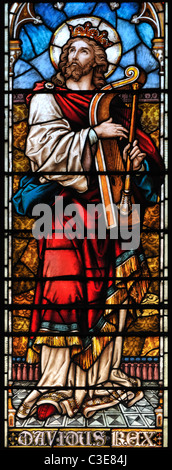 Victorian stained glass window depicting King David, King's Lynn, Norfolk, England - Stock Photo