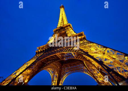 Paris, Tour Eiffel at Night - Stock Photo