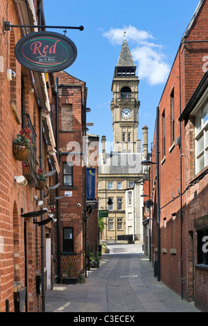View of the Town Hall clock tower from George and Crown Yard, Civic Quarter, Wakefield, West Yorkshire, UK - Stock Photo