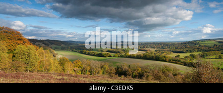 Panoramic autumn view along The North Downs looking west towards Dorking - Stock Photo