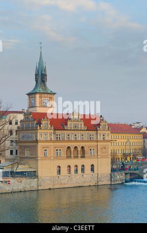 View from the Charles bridge to Smetana Museum, Prague, Czech Republic - Stock Photo