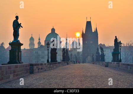 Sunrise over Prague - look from Charles Bridge, early morning - Stock Photo