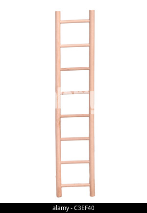 Beige wooden ladder isolated on white background - Stock Photo