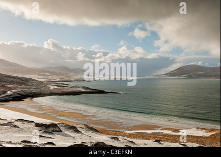 Traigh Lar Beach in winter, near Horgabost, Isle of Harris, Outer Hebrides, Scotland - Stock Photo