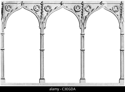 Vintage engraving of three gothic arches - Stock Photo