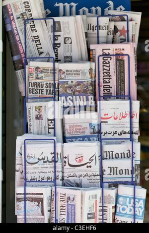 International newspaper stand, England - Stock Photo