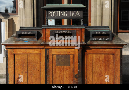 Old wooden post box, Oxford - Stock Photo