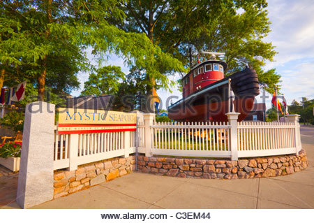 Entrance to [Mystic Seaport museum],with tugboat. Mystic, Connecticut. - Stock Photo