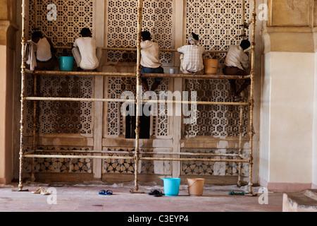 Renovation work at the mausoleum, Taj Mahal, Agra, Uttar Pradesh, India - Stock Photo