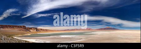 panoramic view of salt lake Salar de Tara, Los Flamencos National Reserve, Chile - Stock Photo