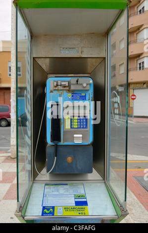 Spanish public telephone in the street. - Stock Photo