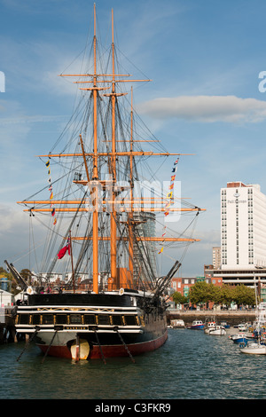 HMS Warrior, mored Portsmouth Dockyard, Portsmouth, Hampshire, England; view of stern. - Stock Photo