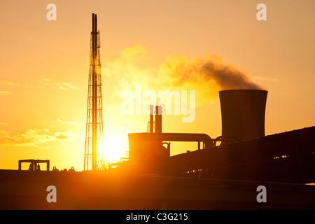 Petrochemical works in Billingham on Teeside, UK, at sunset. - Stock Photo