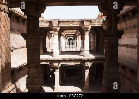 Architectural details of a building, Adalaj Vav, Ahmedabad, Gujarat, India - Stock Photo