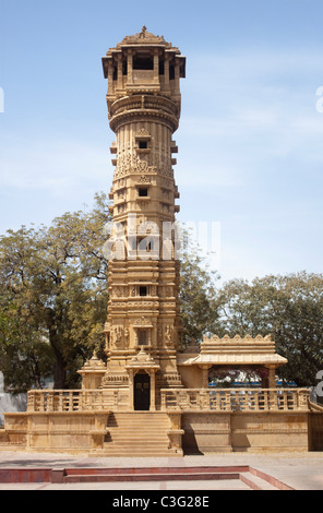 Tower of a temple, Hathisingh Jain Temple, Ahmedabad, Gujarat, India - Stock Photo