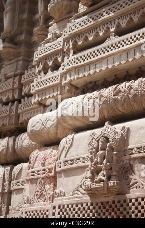 Architectural details of a temple, Swaminarayan Akshardham Temple, Ahmedabad, Gujarat, India - Stock Photo