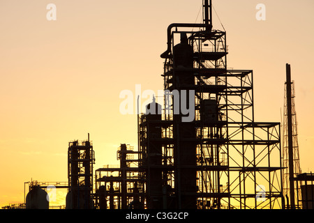 Petrochemical works in Billingham on Teeside, UK, at sunset. - Stock Photo