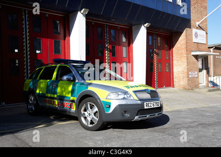 fast response paramedic emergency ambulance vehicle parked outside a fire station in holywood county down northern - Stock Photo