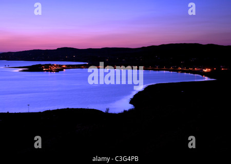 Sunset over Aultbea and loch ewe. Taken from the viewpoint along the A832, Wester Ross, Scotland - Stock Photo