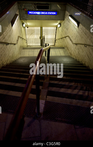 Piccadilly Circus subway station entrance - Stock Photo