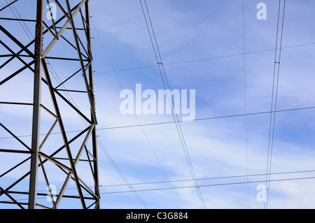 Long transmission power tower detail - Stock Photo