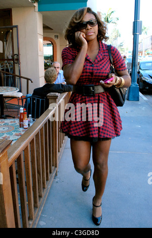 Serena Williams walking along Bedford Street in Beverly Hills while talking on her cell phone Los Angeles, California - Stock Photo