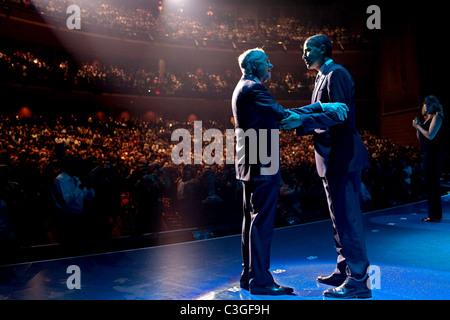 President Barack Obama embraces Sen. Harry Reid during a Las Vegas fundraiser for the senator at Caeser's Palace - Stock Photo