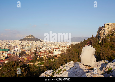 view of Athens from Areopagus hill, Greece - Stock Photo