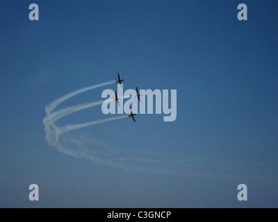 Beechcraft T-6A Texan II single-engine turboprop air crafts of the Israeli Air Force aerobatic team flying in formation - Stock Photo