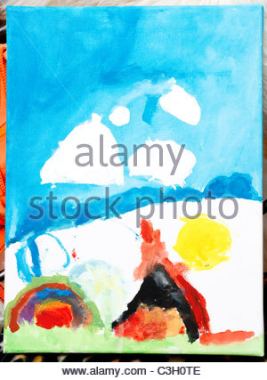 Artwork by five year old child - Stock Photo