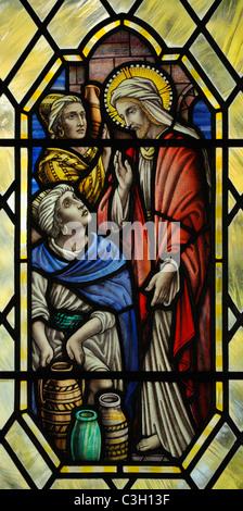 'The wedding feast at Cana', detail of window. Church of Saint John. Levens, Cumbria, England, United Kingdom, Europe. - Stock Photo