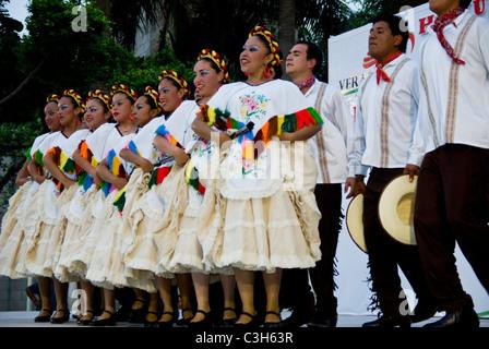 Mexico. Veracruz city. Mexican folk-dance exhibitions. Huasteca dance. - Stock Photo