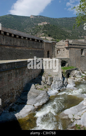 Fortifications of Villefranche-de-Conflent and Fort Liberia in the French Pyrenees near Prades, Languedoc-Roussillon - Stock Photo