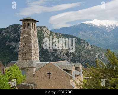 The church at Fort Liberia in Villefranche-de-Conflent in Pyrénées Orientales in Languedoc-Roussillon and Canigou - Stock Photo