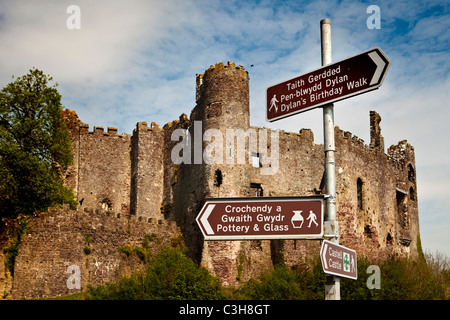 Laugharne Castle, Carmarthenshire South West Wales UK - Stock Photo