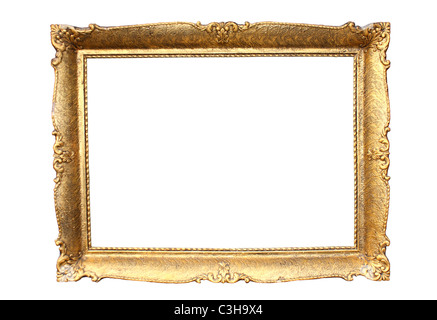 Gold plated wooden picture frame isolated on white - Stock Photo