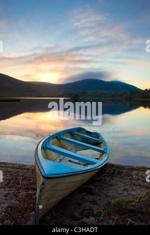 Evening fishing boat on the shore of Lough Talt, County Sligo, Ireland. - Stock Photo