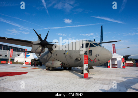 Italy Air Force Alenia C-27J Spartan from 46 Squadron based at Pisa/San Giusto AB at Farnborough Airshow 2010, UK. - Stock Photo