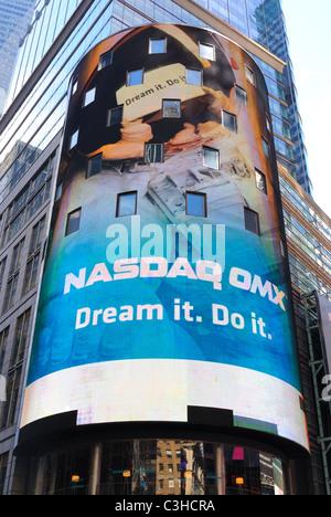 NASDAQ Headquarters in Times Square New York City. - Stock Photo