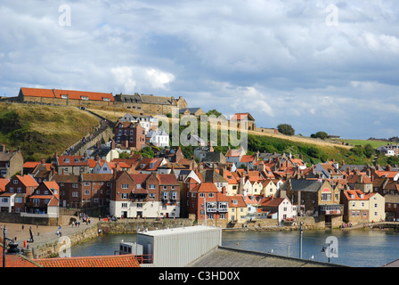 Whitby Abby on West Cliff in Whitby, England. - Stock Photo