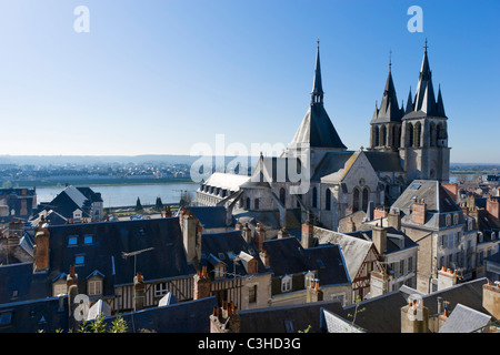 View over the town towards the river and Eglise Saint Nicolas from walls of the Chateau, Blois, Loire Valley, Touraine, - Stock Photo