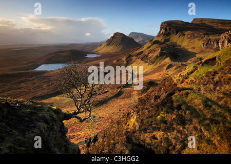 Early spring morning view of the magnificent Quirang on the Isle of Skye, Scotland - Stock Photo