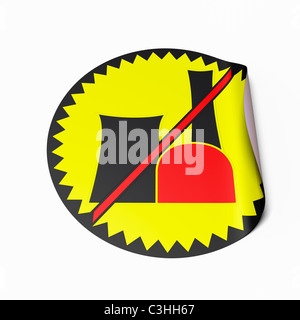 High resolution image of a sticker with crossed out radioactive symbol. Conceptual image for nuclear power phaseout. - Stock Photo
