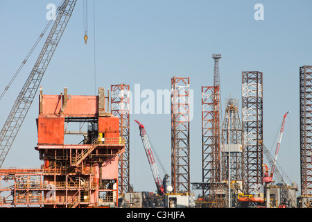 An old oil rigg and Jack up barge being dismantled at Able UK's ship dismantling plant at Seal Sands on Teeside, - Stock Photo